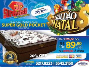 Conjunto Box Casal Super Gold Pocket Ortobom