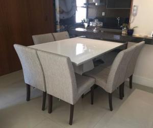 Mesa de Jantar - Laca Branca Retangular c/ 6 cadeiras -