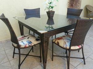 Mesa de junco 4 Cadeiras e Vidro 8mm 1.15x1.15