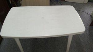 Mesa plástica desmontável retangular branca