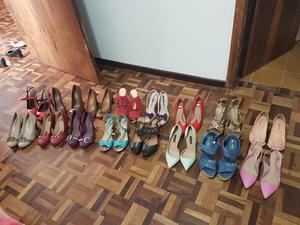 Lote de 16 pares de sapatos 35 novos e seminovos