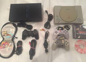 Playstation 1 e 2 + Jogos + Volante e Pedal