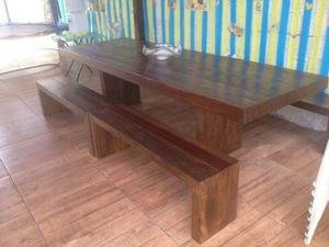 Mesa 3×1 de madeira demolição