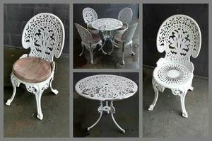 Conjunto mesa de jardim com 4 cadeiras em alumínio