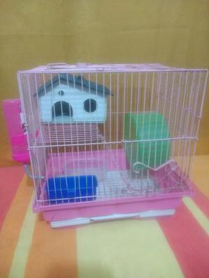 Gaiola 02 andares cor de rosa para Hamster completa