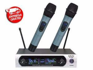 Microfone Sem Fio Duplo Uhf Digital Duxaudio Du-u204 Bivolt