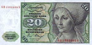 Alemanha - Cédula 20 Marcos  FE Flor de Estampa -