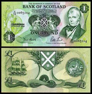 Escócia - Cédula £ FE Flor de Estampa - Raríssima
