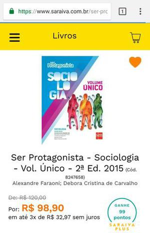 Ser Protagonista Sociologia Volume Único Ensino Médio