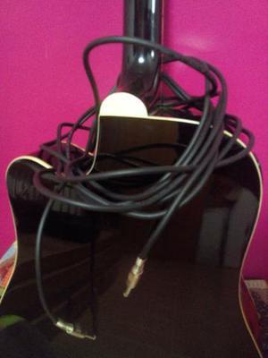 Violão elétrico Giannini preto, semi novo e cordas de