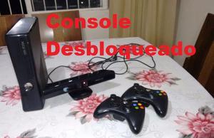 Xbox 360 Slim(Joga Online) + Kinect + 2 Controles