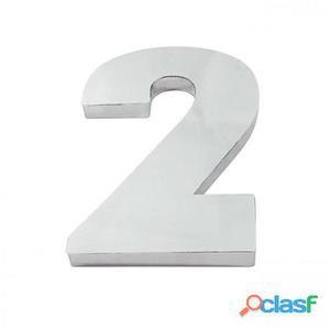 Algarismo ou Número 2 (Dois) para Residência 12cm em Inox