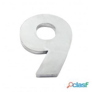 Algarismo ou Número 9 (Nove) para Residência 12cm em Inox