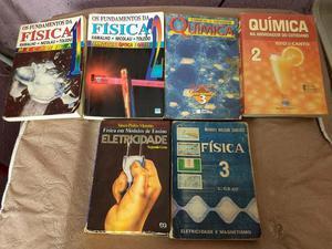 Livros de Física, Química, Matemática, História,