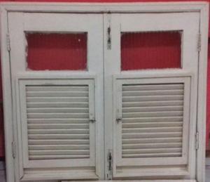 Porta e janela de madeira (pau d'arco) com vidro