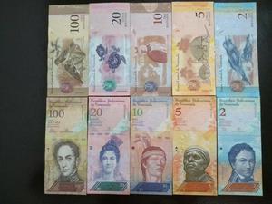 Set com 5 cédulas da Venezuela 3 Flôr de estampa 2