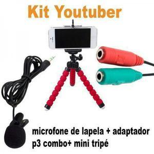 Kit youtubers profissional(microfone de lapela + adaptador