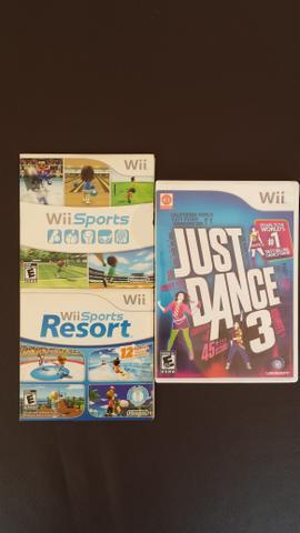 Jogos Wii Sports, Resort e Just Dance 3