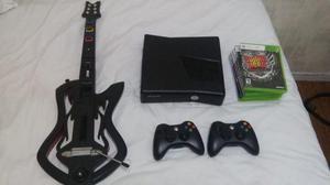Xbox 360 slim + guitarra Guitar Hero + 6 jogos + 2 controles