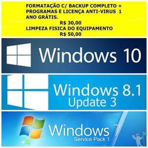 FORMATAÇÃO E LIMPEZA DE PCS E NOTEBOOKS.