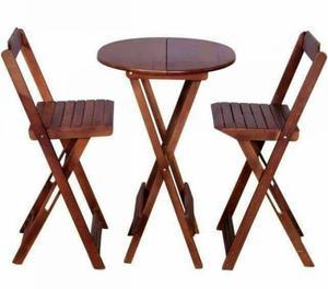 Conjunto de mesa com 4 cadeiras de madeira dobravel