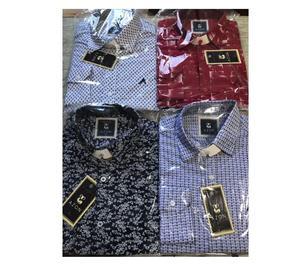 Camisas de tecido manga longa e manga curta 100% algodão