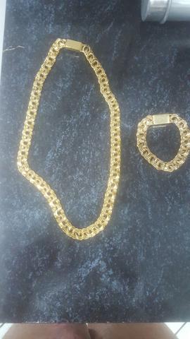Cordao e pulseira banhado a ouro 18k
