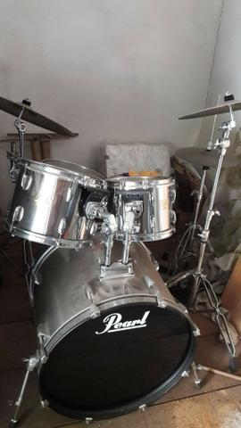 Bateria Pearl Export Chrome + Pedal Duplo Mapex