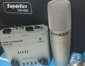 Mic Condensador Superlux Cm-h8a + Pre Amp Behringer Mic100