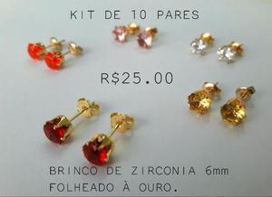 Kit De Brincos Folheados à Ouro com garantia