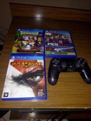 Controle e 3 jogos de Playstation 4 aceito troca
