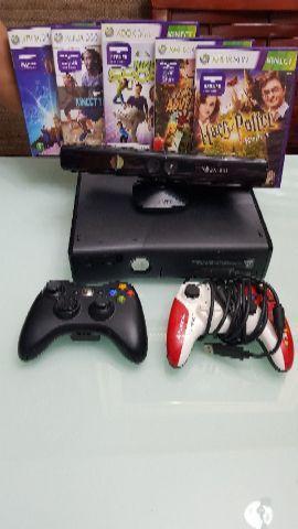 Xbox 360 com kinect + 2 controles 250gb +5 jogos