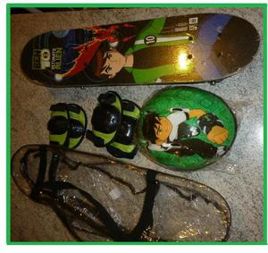Skate Infantil Completo Ben 10 Com Capacete + Kit Proteção