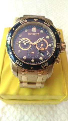 04149f2f23d Relógio Invicta Pro Diver Em Aço Com Fundo Azul Ref 80044