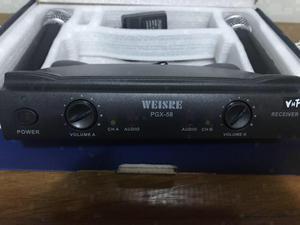 Microfone sem fio VHS  MHz com 2 microfones
