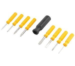 kit 9 peças mini chaves aço fenda phillips furador estojo
