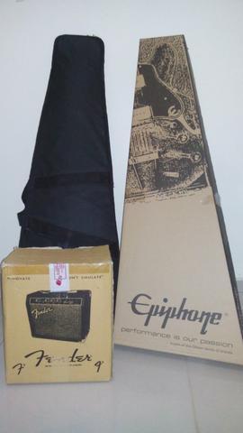 Guitarra Epiphone + Capa + Amplificador Fender