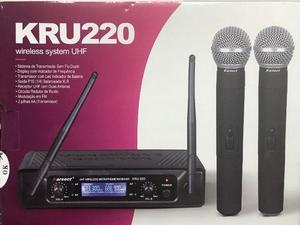 Microfone Sem Fio Duplo Uhf Karsect Kru220
