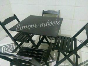 Conjunto NoVo Mesa com 4 Cadeiras Dobráveis