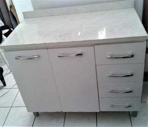 Gabinete de Cozinha 2 Portas e 4 Gavetas - Branco