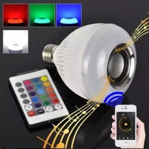 Lampada Led 12w Rgb Caixa Som Bluetooth Controle 2 Em 1 Mp3