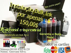 Instalação bulk ink 150,00$ e manutenção impressora