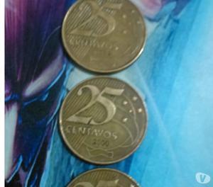 Lote de 4 Moedas Raras de 25 Centavos do ano .