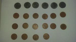 Lote de moedas de 1 centavo de 1993 a 2001