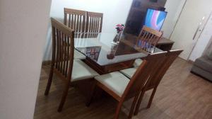 Mesa com 6 cadeiras (madeira com tampo de vidro)
