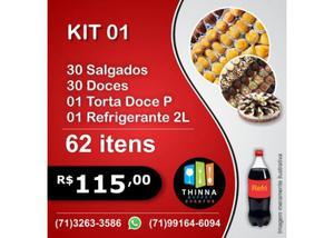 Thinna Delivery - Kit Festa Completo Doces e Salgados, Torta