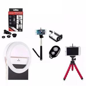 Anel Led Flash + Kit Youtuber Tripé Bastão De Selfie Ring