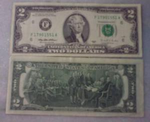Cédula de 1 Dólar sequencial - 2 dólares comemorativo
