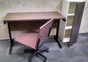 Móveis para escritório conjunto, mesa reta, armário e