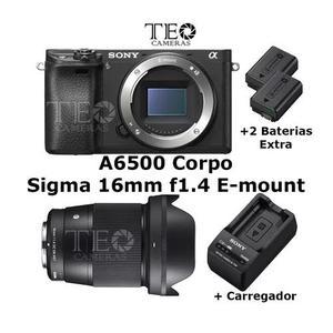 Sony A6500 Corpo +sigma 16mm F1.4 +2x Bat +carreg C/ Recibo
